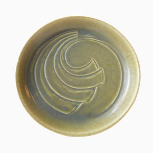 Graphic Green Danish Stoneware Bowl by Eva Staehr Nielsen for Saxbo, 1950s