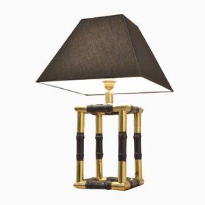 Würfelförmige Lampe mit Sockel aus Messing und ebonisiertem Holz im Bambusrohrstil, 1960er
