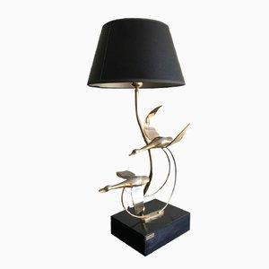 Lampada vintage in metallo dorato con anatre di L. Galeotti