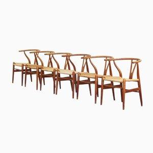 Dänische Eichenholz Wishbone Esszimmerstühle von Hans J. Wegner für Carl Hansen, 1950er, 6er Set