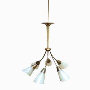 Lampe à Suspension Mid-Century en Verre et en Laiton, Italie