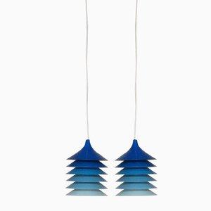 Lampes à Suspension Duett Bleues par Bent Gantzel Boysen pour Ikea, 1970s, Set de 2
