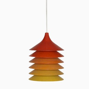 Duett Hängelampen mit Farbverlauf in Rot & Gelb von Bent Gantzel Boysen für Ikea, 1970er, 2er Set