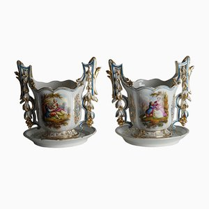 Antique Vieux Paris Flowerpots, Set of 2