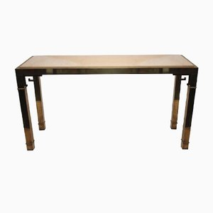 French Brass & Travertine Console, 1970s