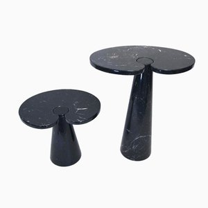 Eros Black Marble Coffee Tables by Angelo Mangiarotti for Skipper, 1970s, Set of 2