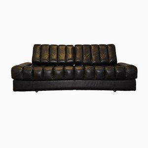 Vintage DS 85 Black Leather Daybed from De Sede, 1960s