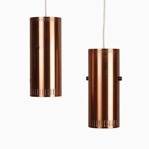 Lámparas danesas cilíndricas de Jo Hammerborg para Fog & Mørup, años 60. Juego de 2