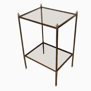Brass and Glass Side Table from Maison Jansen, 1940s