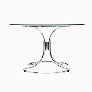 Mesa de comedor italiana de vidrio y cromado, años 70