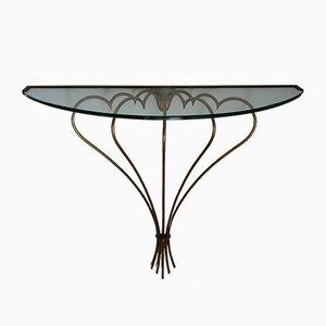 Mesa consola italiana de vidrio y latón, años 50