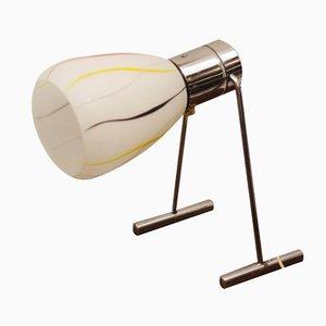 Lámpara de mesa Mid-Century de vidrio opalino, años 50