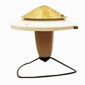 White Steel & Brass Mid-Century Table or Wall Lamp, 1950s