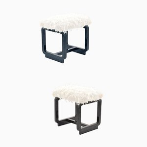 French Modernist Stools with Faux Lamb Fur, 1950s, Set of 2