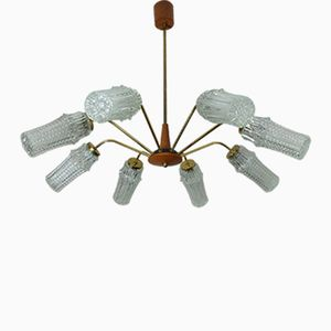 Mid-Century German Eight-Armed Sputnik Spider Ceiling Lamp from Hustadt Leuchten, 1950s