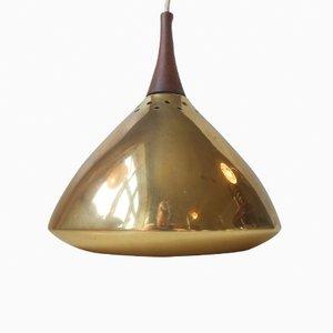 Lampada a sospensione Mid-Century moderna in ottone massiccia e palissandro, Scandinavia, anni '50