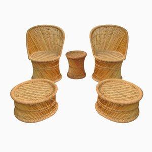 Juego de salón español vintage de bambú, años 70. Juego de 5