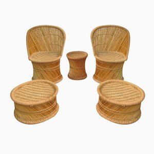 Vintage Spanish Bamboo Living Room Set, 1970s, Set of 5