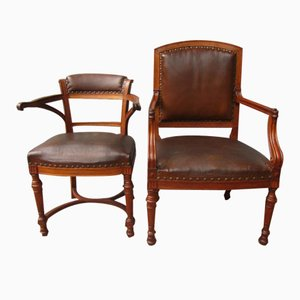 English Arts & Crafts His and Hers Armchairs, 1880s, Set of 2