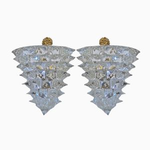 Rostrato Glass Sconces by Ercole Barovier, 1940s, Set of 2
