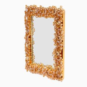 Specchio vintage dorato illuminato di Palwa, anni '70