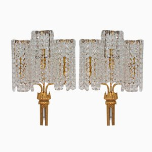 Large Austrian Crystal Sconces, 1950s, Set of 2