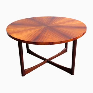 Mid-Century Rosewood Coffee Table with Cross Base