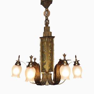 Französischer Art Deco Bronze Kronleuchter, 1920er