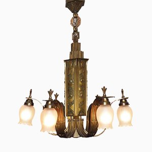 French Art Deco Bronze Chandelier, 1920s