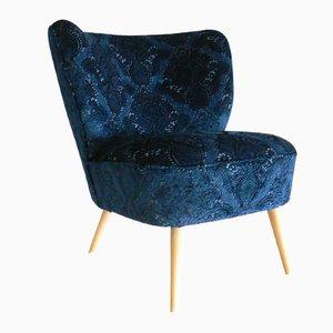 Deutscher Marineblauer Sessel aus Samt, 1950er