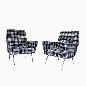 Italian Checkered Armchairs, Set of 2