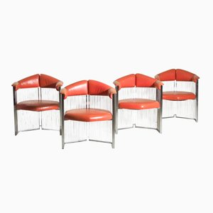 Italian Armchairs in Chromed Steel and Leather, Set of 4
