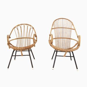 Dutch Rattan Chairs from Rohe, 1960s, Set of 2