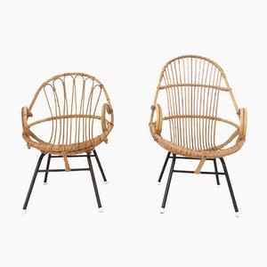 Niederländische Rattan Stühle von Rohe, 1960er, 2er Set