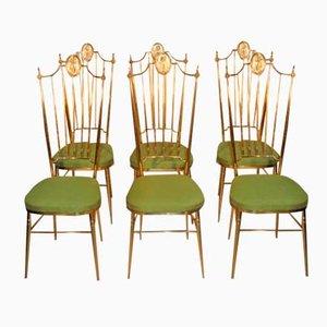 Chaises en Laiton à Hauts Dossiers, 1950s, Set de 6