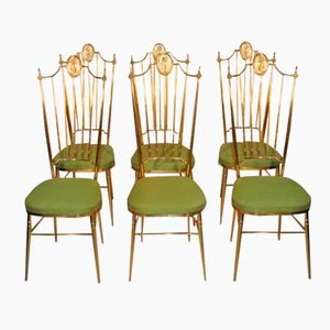 Italian Brass High Back Chairs, 1950s, Set of 6