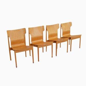 Sillas suizas de madera de Benedikt Rohner, años 60. Juego de 4