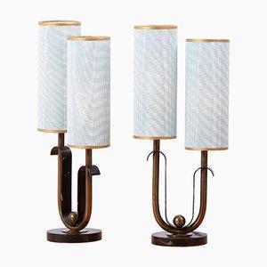 Französische Art Deco Tischlampen im Stil von Jean Royère, 1940er, 2er Set
