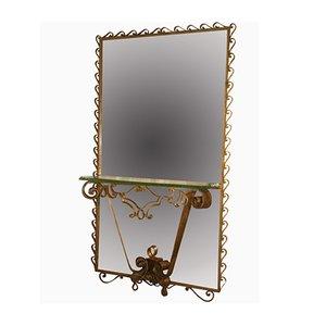 Consolle Crystal Art Mid-Century con specchio grande, Italia, anni '50