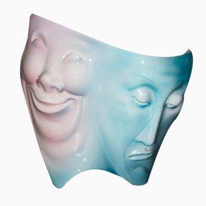 Italienische Masken Tischlampe aus Keramik von Ariele Torino, 1950er