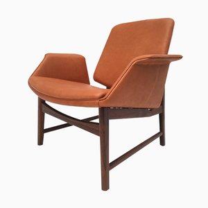 Chaise en Palissandre et en Cuir par Hans Olsen, Danemark, 1950s