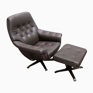 Vintage Scandinavian Style Armchair with Ottoman