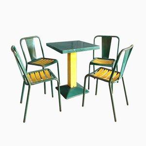Set da pranzo industriale verde di Xavier Pauchard per Tolix, anni '50
