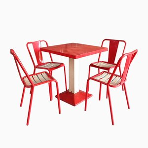 Industrial Red & White Dining Set by Xavier Pauchard for Tolix, 1950s