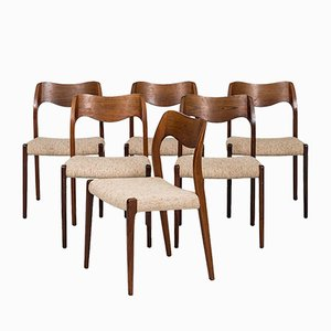 Model 71 Dining Chairs by Niels O. Møller for J.L. Møllers, 1951, Set of 6