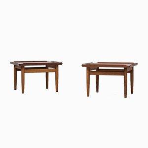 Tables d'Appoint en Teck et en Chêne par Kurt Østervig pour Jason Møbler, Set de 2
