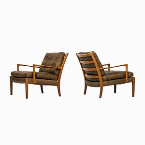 Walnut Easy Chairs from Arne Norell, Set of 2