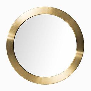 Runder Schwedischer Spiegel mit Messingrahmen von Glasmäster