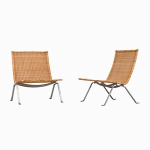 Danish PK-22 Easy Chairs by Poul Kjærholm for E. Kold Christensen, 1950s, Set of 2