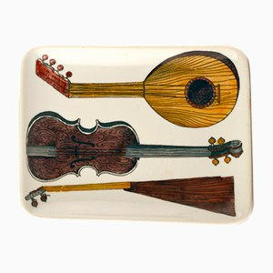 Vintage Italian Dish with Three Musical Stringed Instruments by Piero Fornasetti, 1960